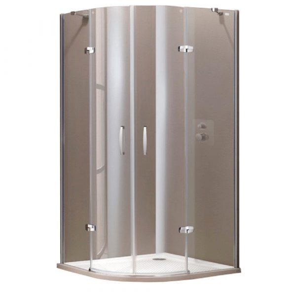 900×900 Aura Polukružna kabina, Swing vrata, visoki sjaj, anti-plaque