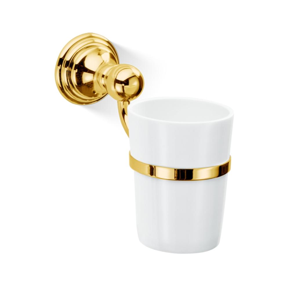 Čaša za četkice za zube za zidnu montažu, CLASSIC, hrom-zlatna, Decor Walther