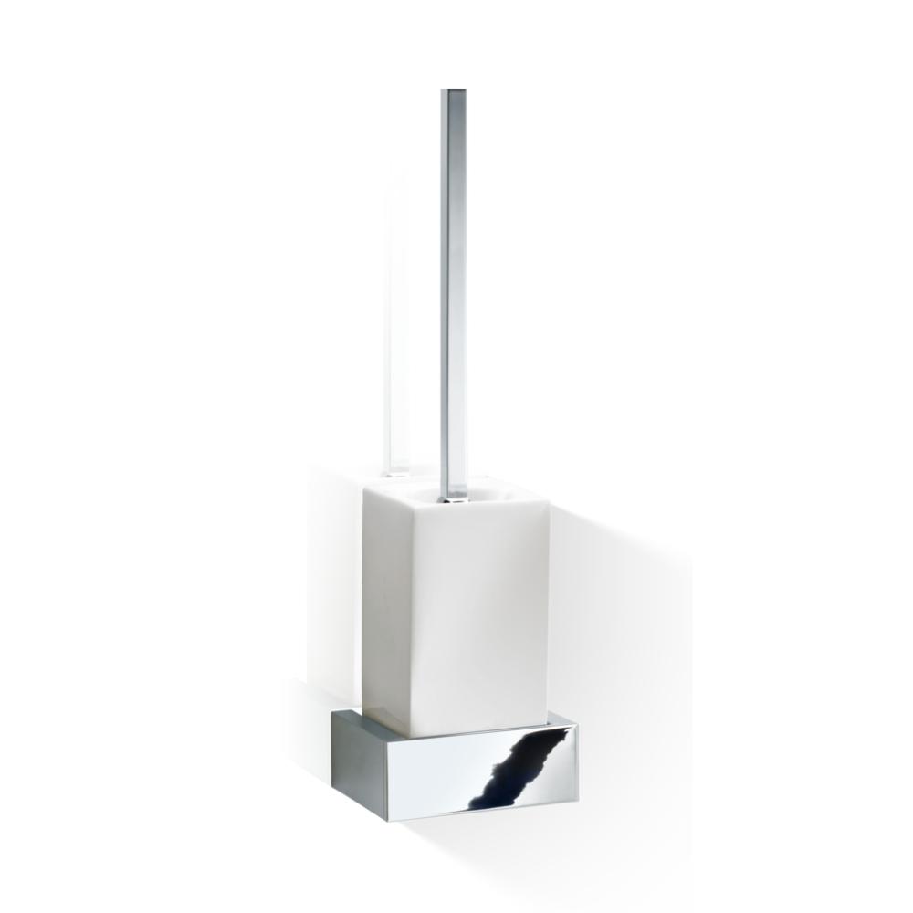 Četka za WC šolju, konzolna, porcelan bela-hrom, BK WBG, Decor Walther