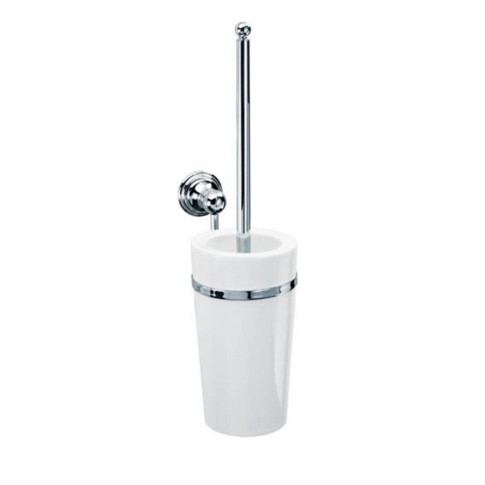 Četka za WC šolju za zidnu montažu, Hrom Bela, CL WBG CLASSIC, Decor Walther