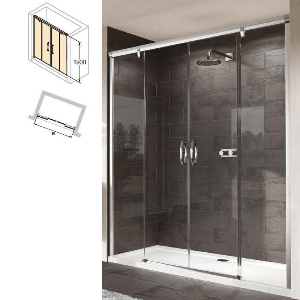 1700×1900 mm Klizna vrata sa 2 panela sa fiksnim segmentom, sjajni profil, čisto staklo 1