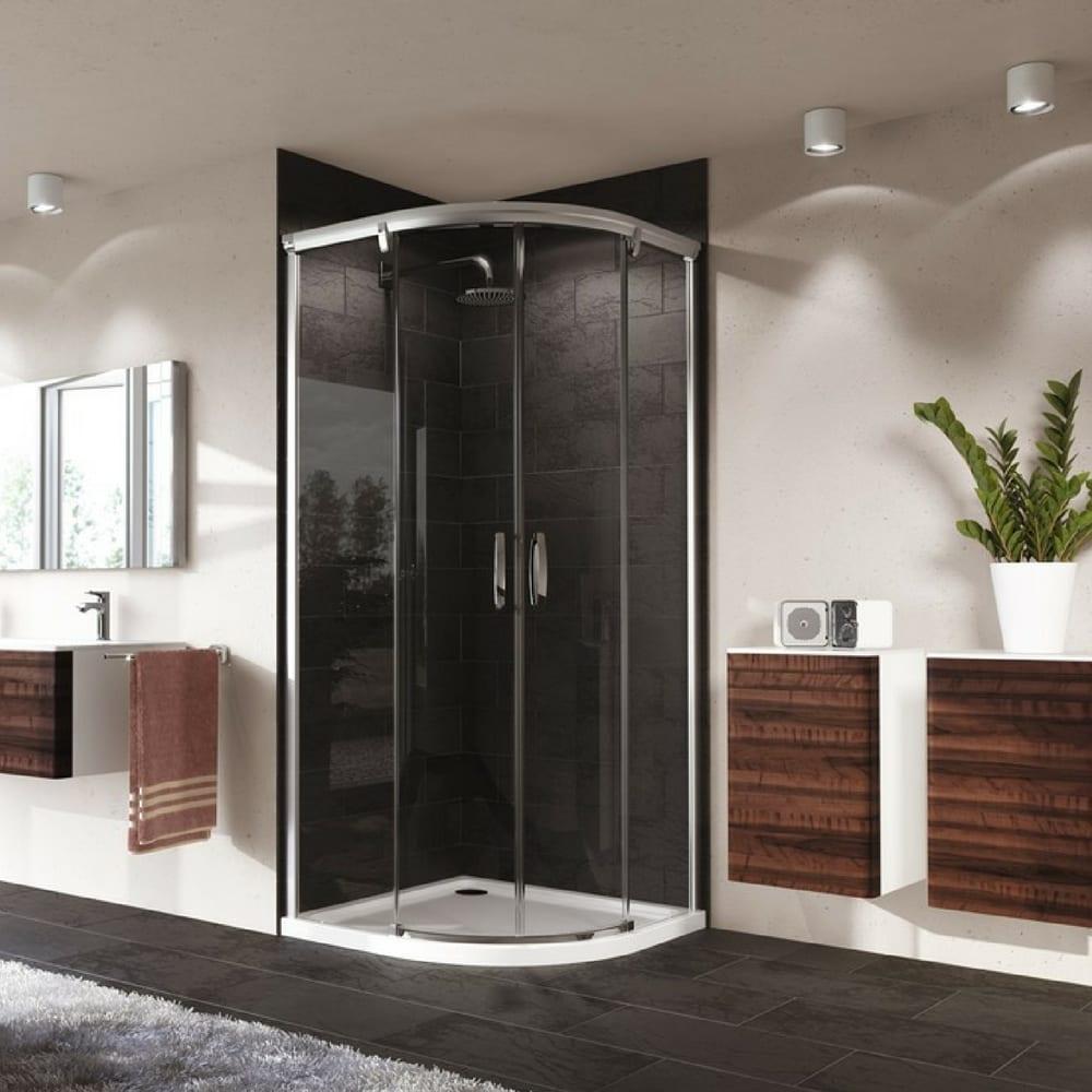 Aura Polukružna klizna vrata, sjajni profil, peskirano staklo, Anti-Plaque 1000 x 800 mm 1