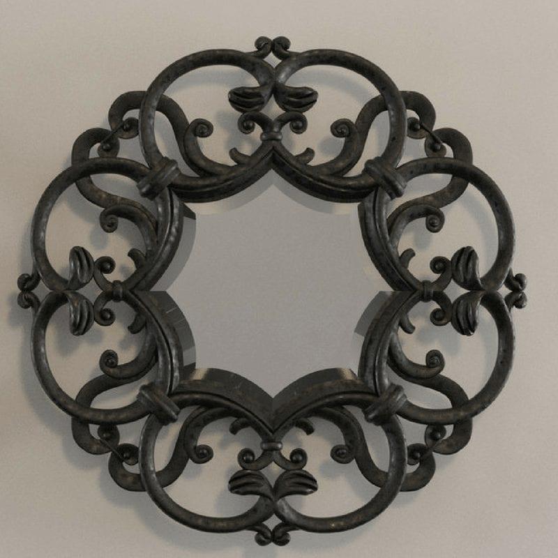 D&D Black Amelie ogledalo sa ukrasnim drvenim ramom 1