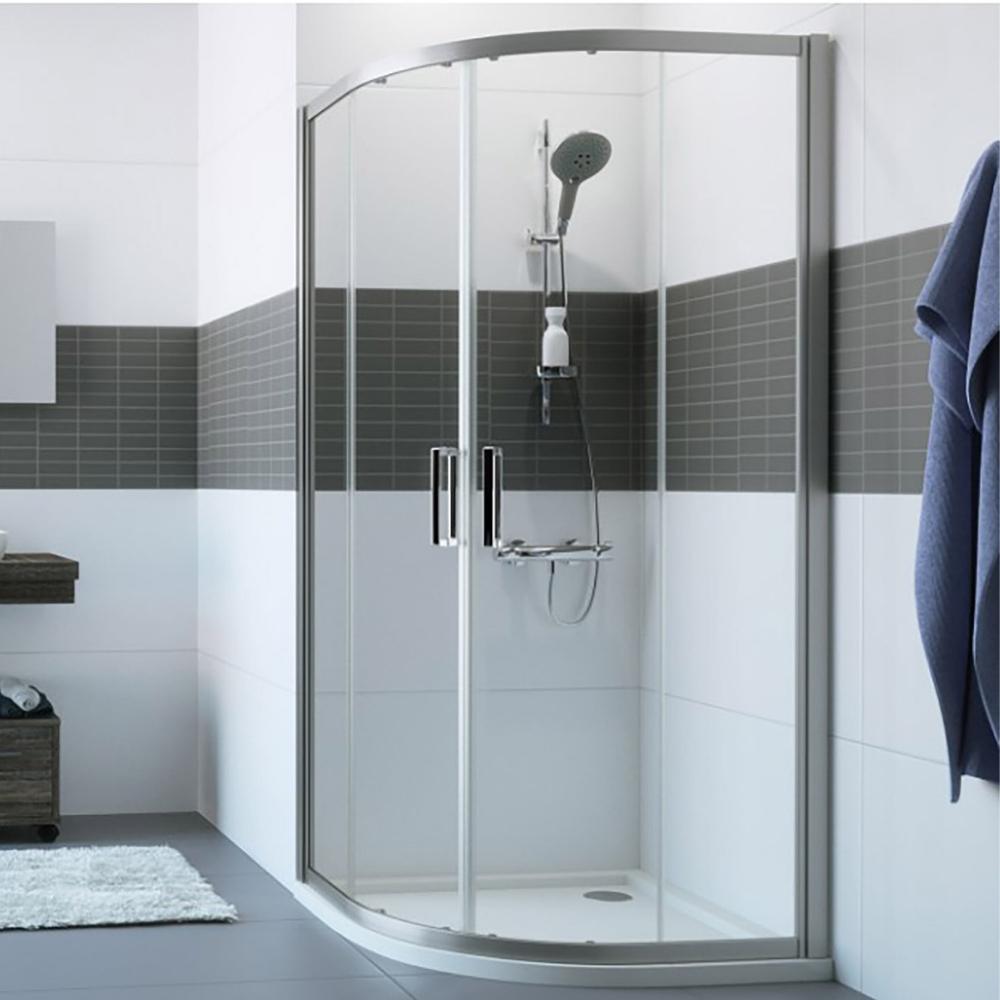 Polukružna tuš kabina 90x90x200cm, R550, sjajni profil, klizna vrata, Huppe