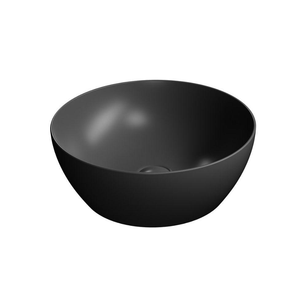 Okrugli lavabo prečnika 42 cm, nadgradni, bez preliva, boja crna, GSI