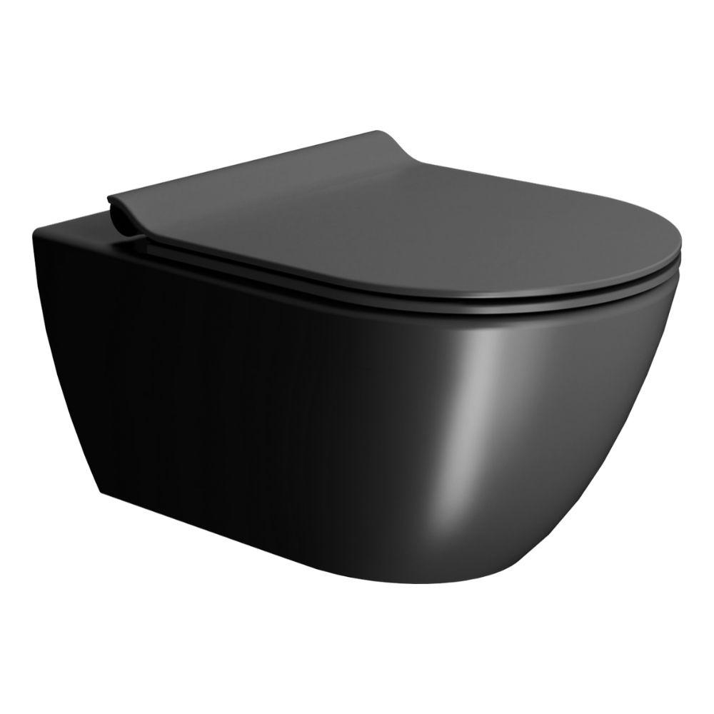 Crna konzolna WC šolja Pura, 55×36 cm, Swirlflush, GSI