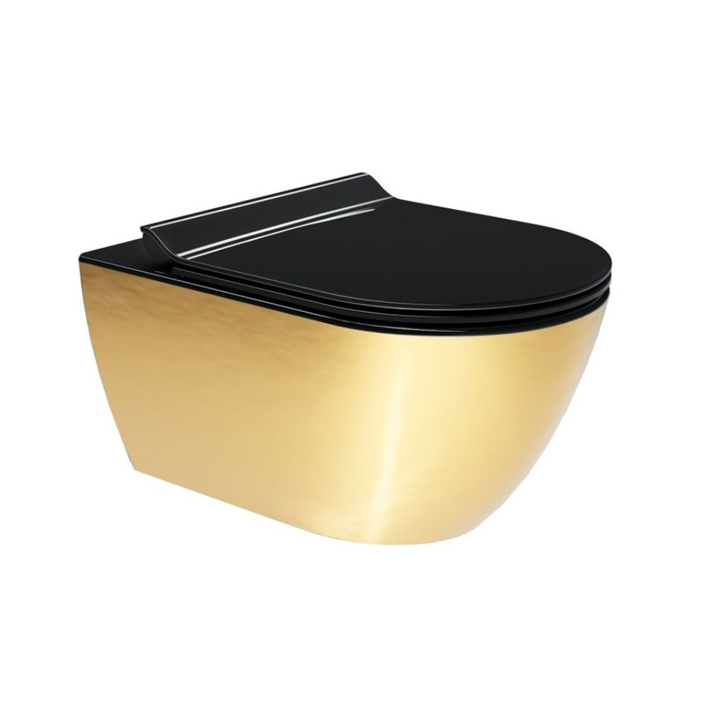 Konzolna Wc Šolja crno-zlatna, 55x36cm, Swirlflush, GSI